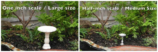 Examples of scale options for a miniature garden.