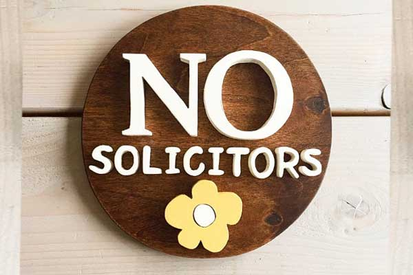 No Solicitors sign by WoodenDalliance on Etsy