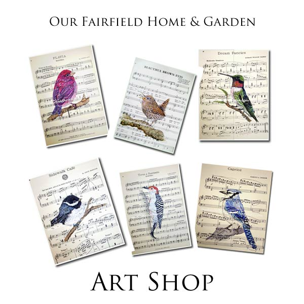 Hand-painted watercolor bird prints by Barb Rosen now available at the Our Fairfield Home and Garden Shop