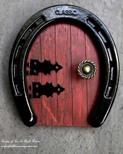 Horseshoe fairy garden door