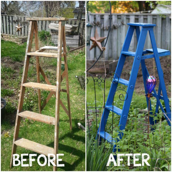 Old ladders are very popular for trash-to-treasure art and shelves both inside the home and in the garden. Keep the plain wood or paint it with a favorite, bold color.