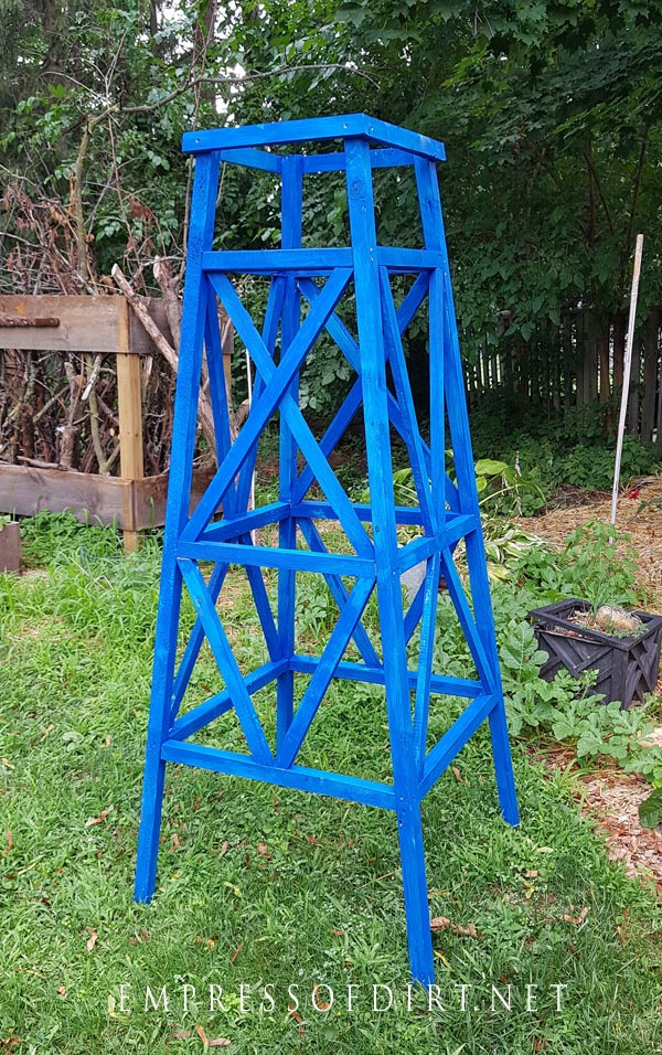 Paint or stain the completed obelisk for use in the garden.