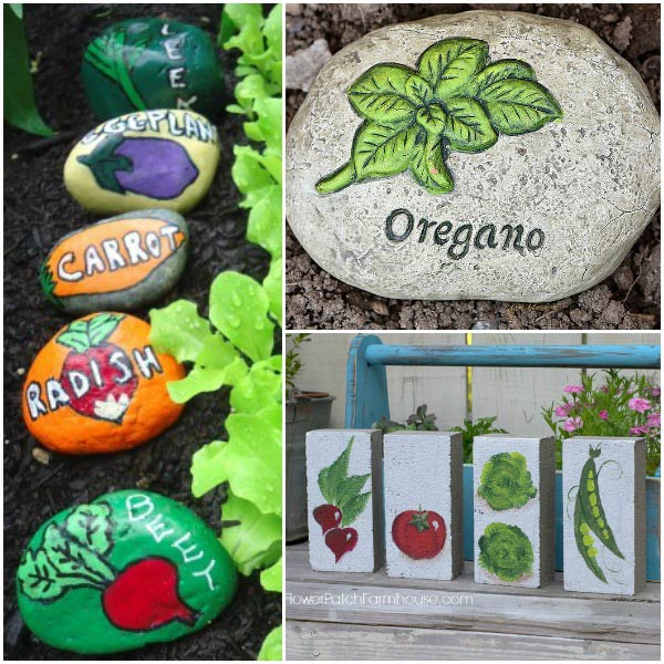 Turn stones into garden markers with painted veggies.