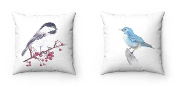 Chickadee and bluebird pillow covers.