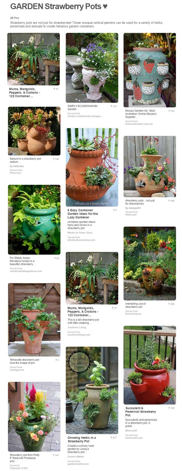 Dozens of ways to use strawberry pots as flower and herb planters on Pinterest. Curated by Empress of Dirt.