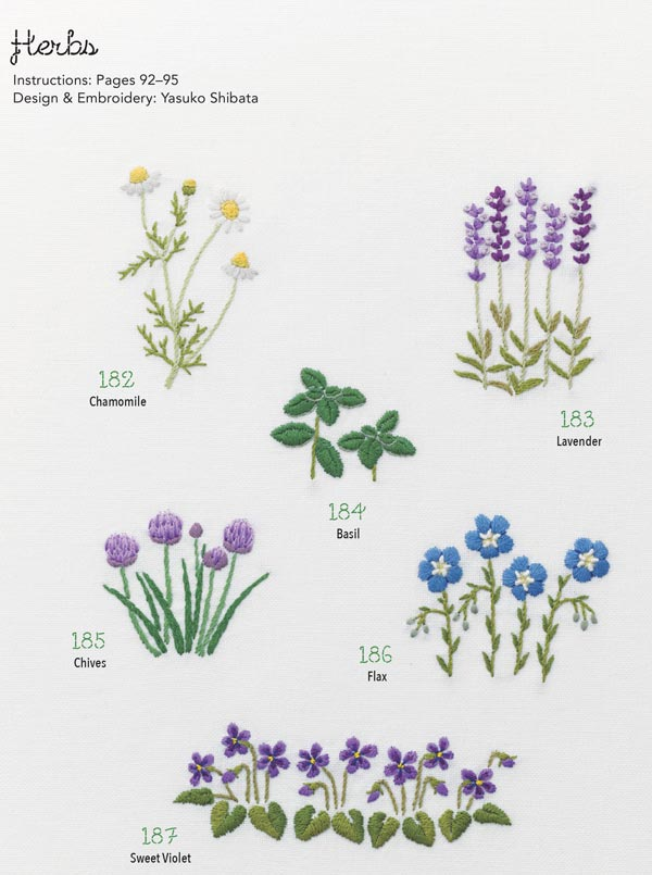 Examples of herbal embroidery