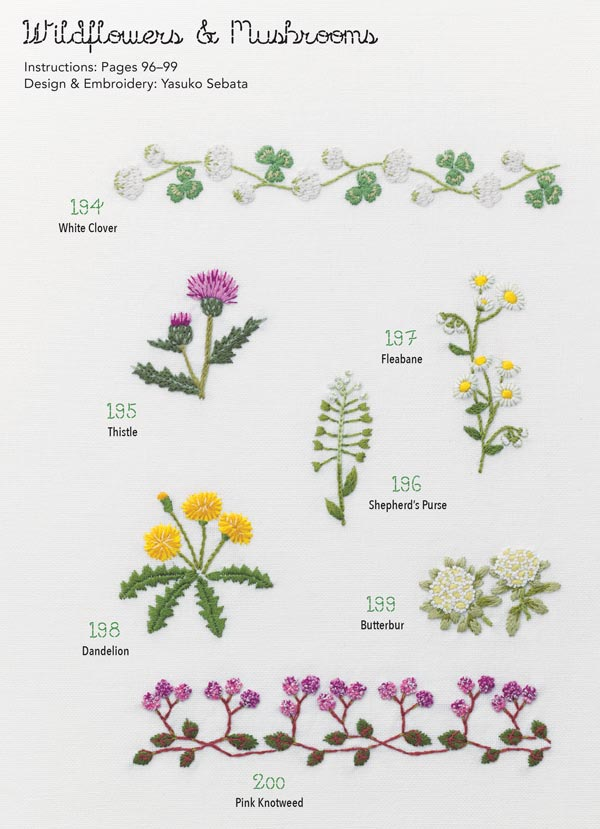Wildflower embroidery designs.