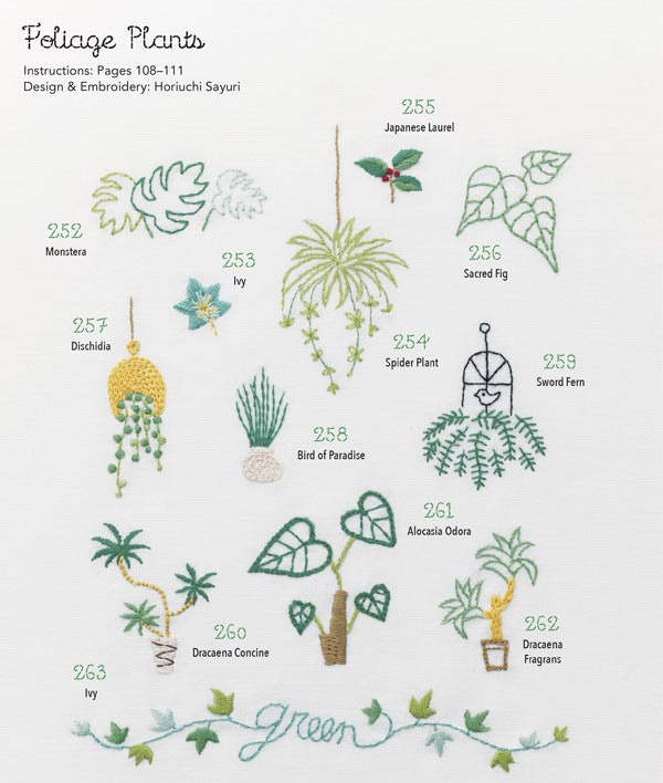 Plant foliage embroidery designs.