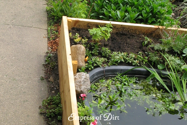 How to Build a Pond in a Raised Garden Bed | Empress of Dirt Raised Garden Pond Design Ideas on above ground garden ponds ideas, diy small water feature ideas, raised garden pool ideas, raised pond kit, raised flower bed with pond, raised pond preformed, raised bed garden with pond, brick wall outdoor fountain ideas, raised turtle pond, raised koi pond, raised garden pond plans, raised garden for small ponds,