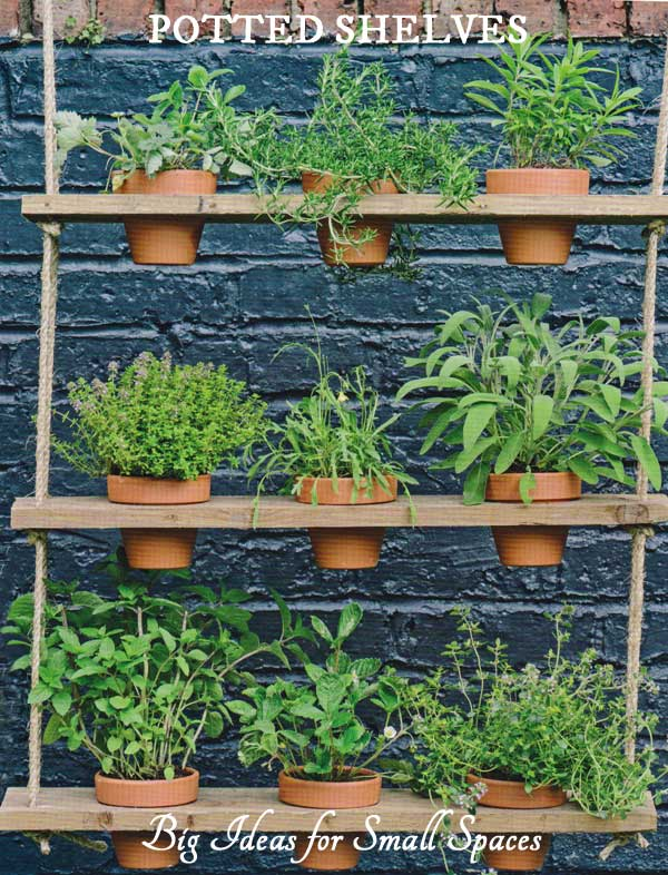 How to make hanging potted plant shelves from Big Ideas for Small Spaces