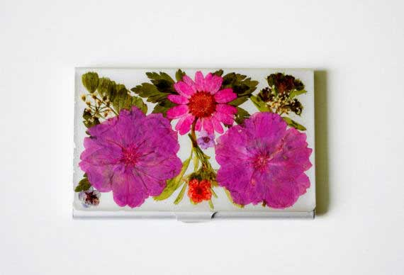 Pressed Flower Business Card Holder - FloralCover Etsy Shop
