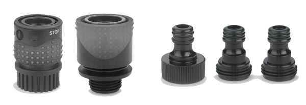 Gilmour quick connectors for garden hoses and accessories.