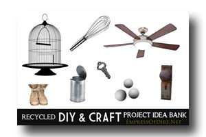 The Empress of Dirt Recycled DIY & Craft Project Idea Bank lets you look up what you have and see what you can make with it.