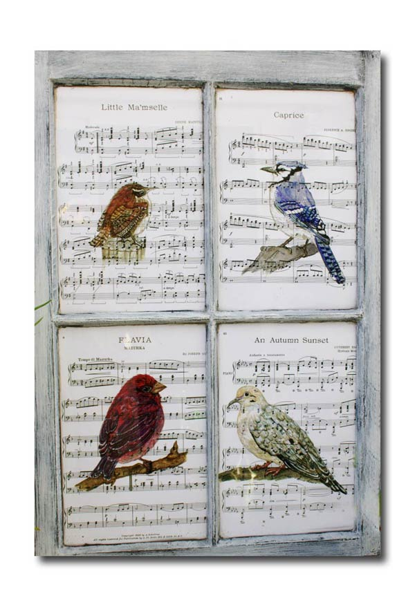 Hand-painted bird prints by Barb Rosen in old wooden window frame