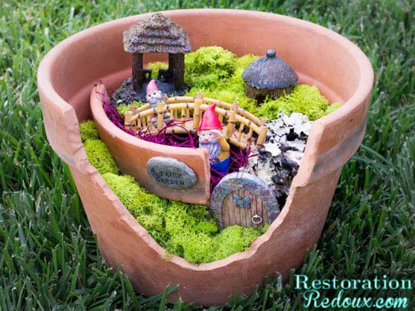 Fairy garden in a broken clay pot by Restoration Redoux