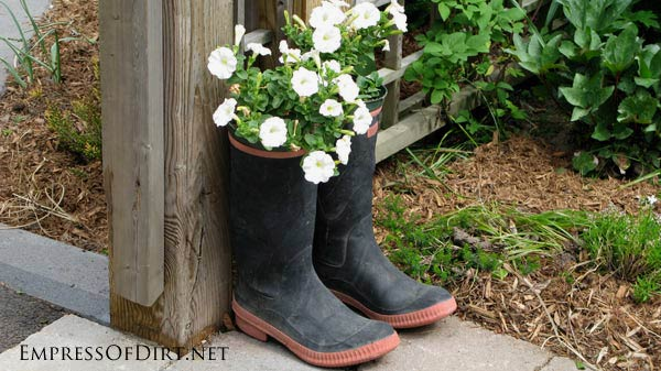 Got a split in your favorite gum boots? Turn them into garden planters. Put some annuals in a small pot and drop it in!