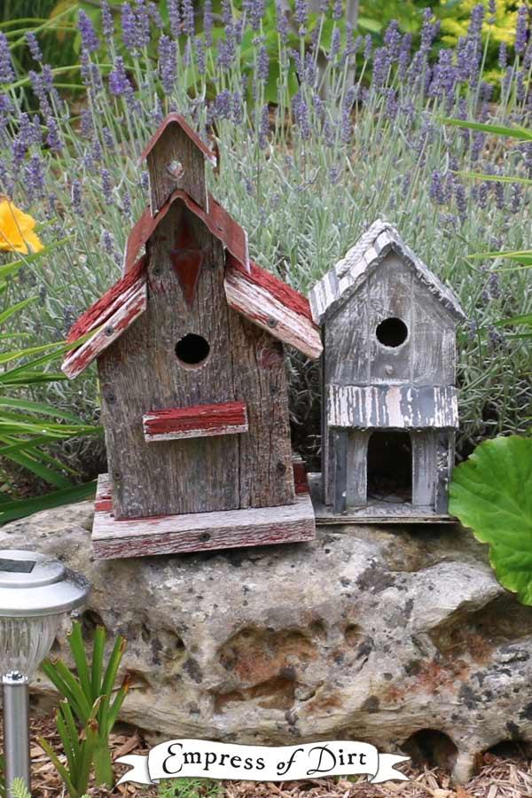 Rustic garden art birdhouses made from barn board