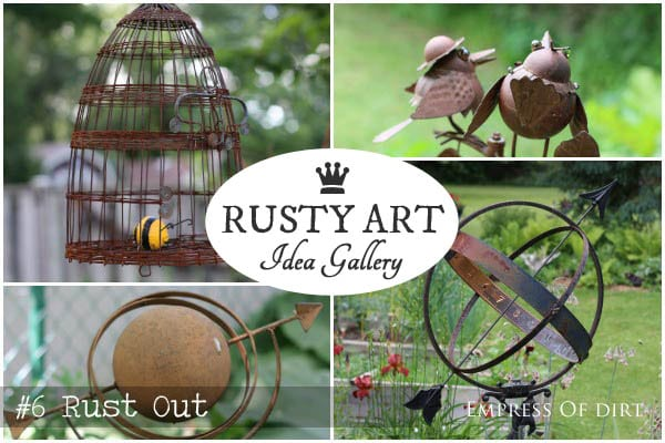 Rusty Garden Art Gallery including orbs, kettles, bee skep, and decorative birds at empressofdirt.net.