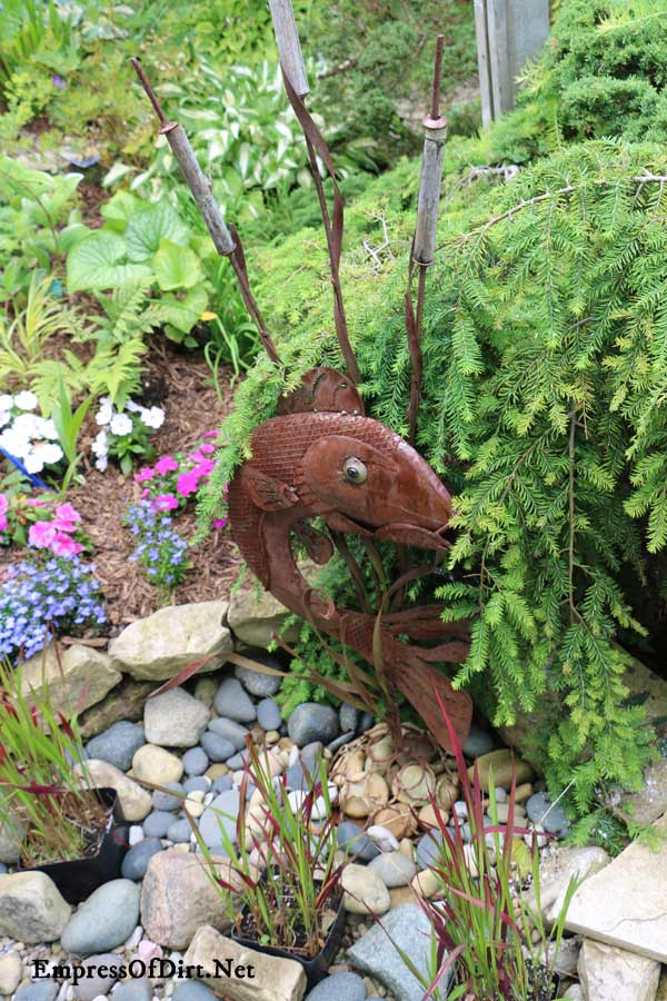 Rusty garden art fish.