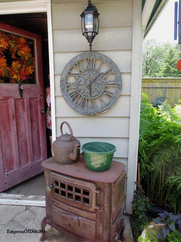 Rusty antique stove in the garden