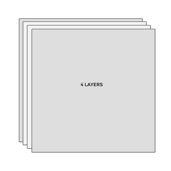 Diagram of four layers of fabric.