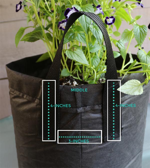 Diagram showing where to add handles on homemade grow bag