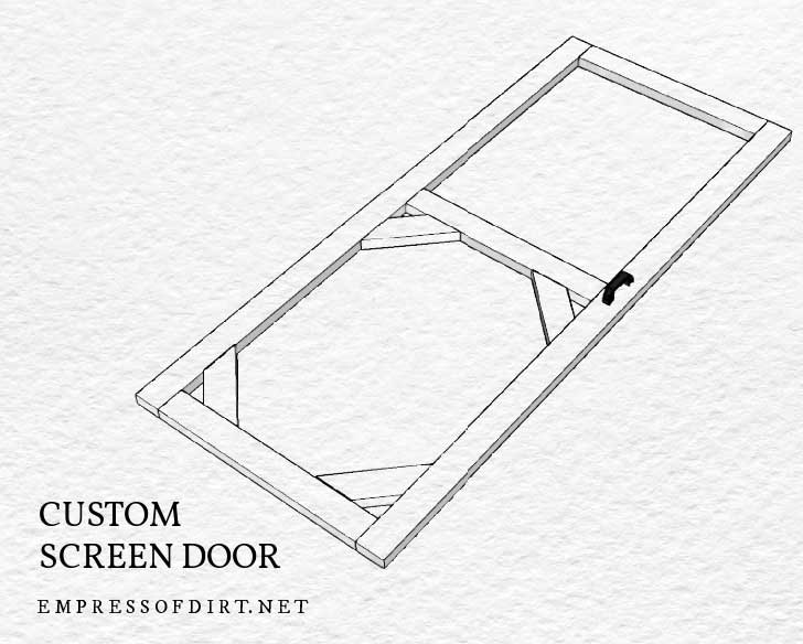 Building plan for custom patio screen door.