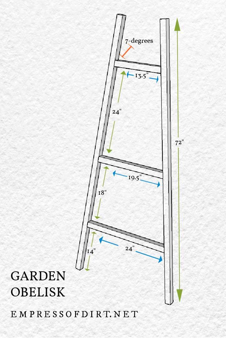 Garden obelisk building plan diagram with measurements.