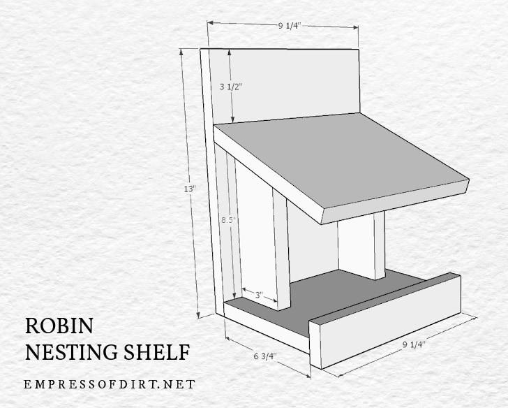Nesting shelf for robin birds.
