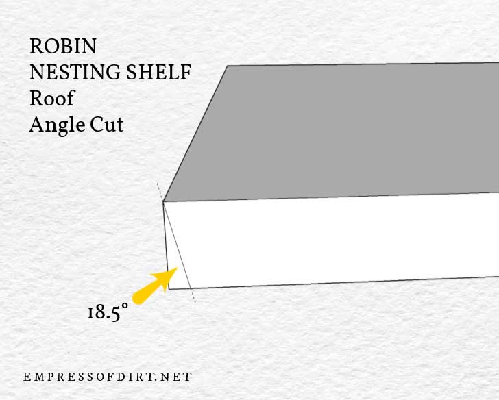 Diagram of nesting shelf roof showing to cut 18.5-degree angle at one end.