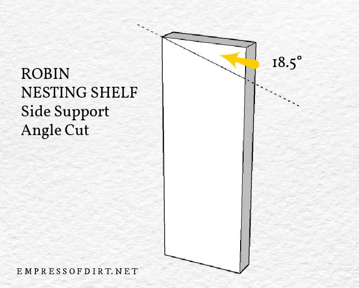 Diagram of robin nesting shelf side piece showing where to cut at 18.5-degree angle.