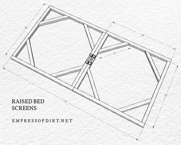 Plano de construção de tela de cama elevada para pragas