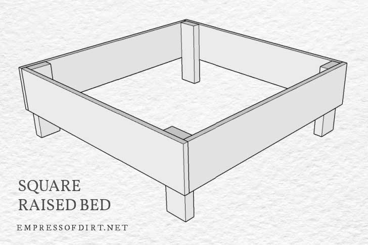 Square raised bed building plan
