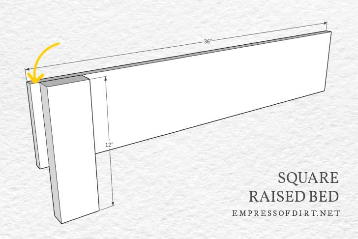 Square raised garden bed assembly diagram