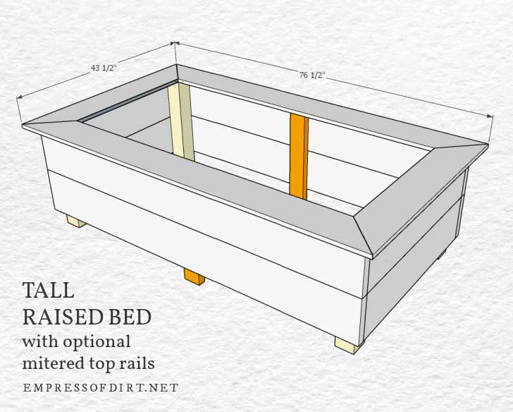 Tall raised garden bed aseembled with mitered top rails