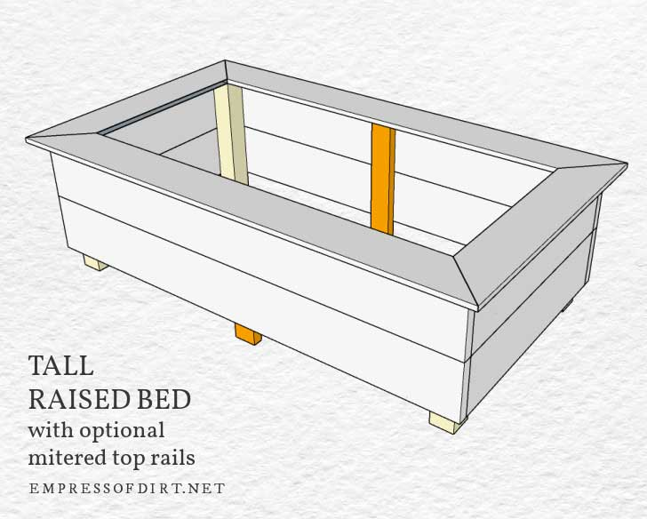 Tall raised bed with optional mitered top rails