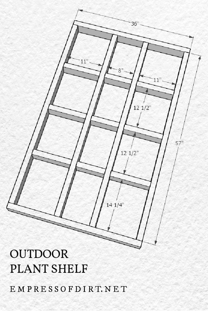 Estante al aire libre de bricolaje para el plan de construcción de plantas.