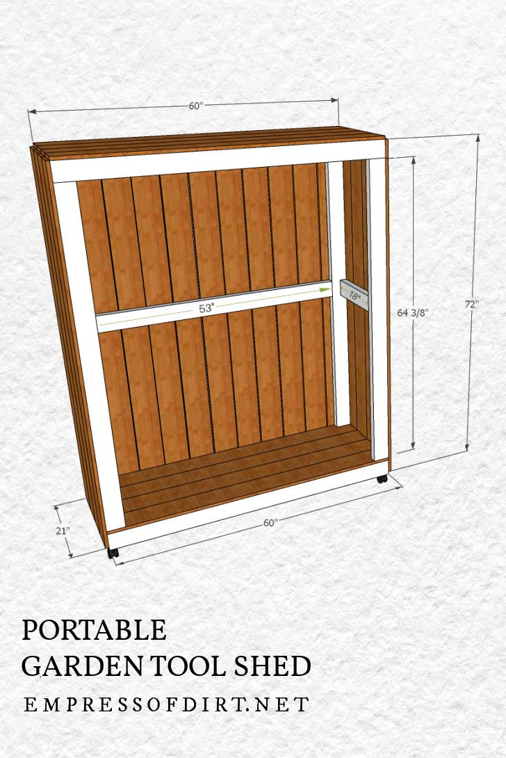 Building plan with measurements for a portable garden tool storage shed.