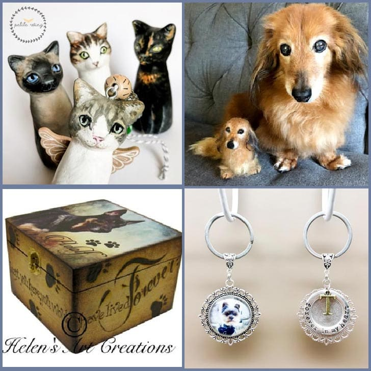 Examples of creative ways to memorialize pets including custom figurines and jewelry.