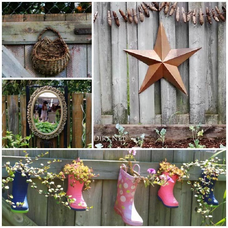 Quirky fence art including a giant star, old wicker basket, and children's boots used as planters.