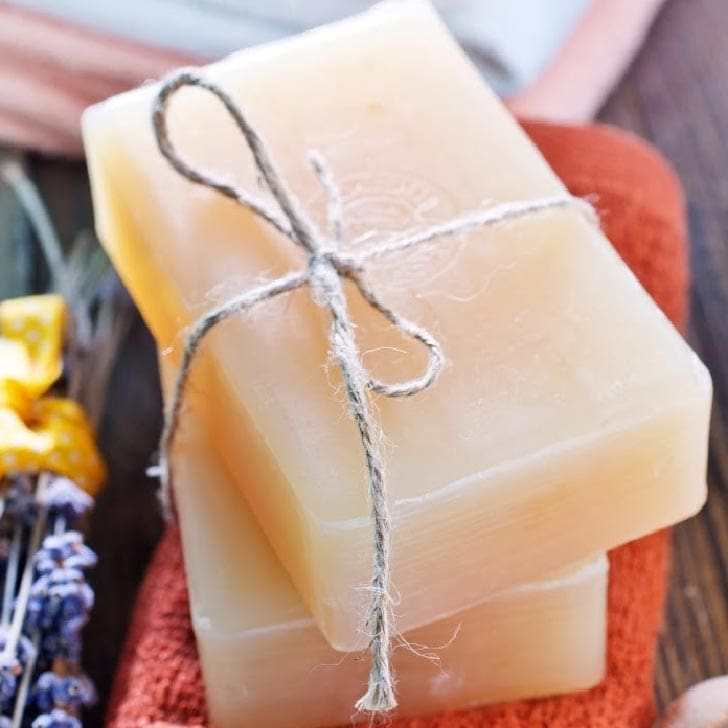 Plain homemade soap that soothes dry skin.