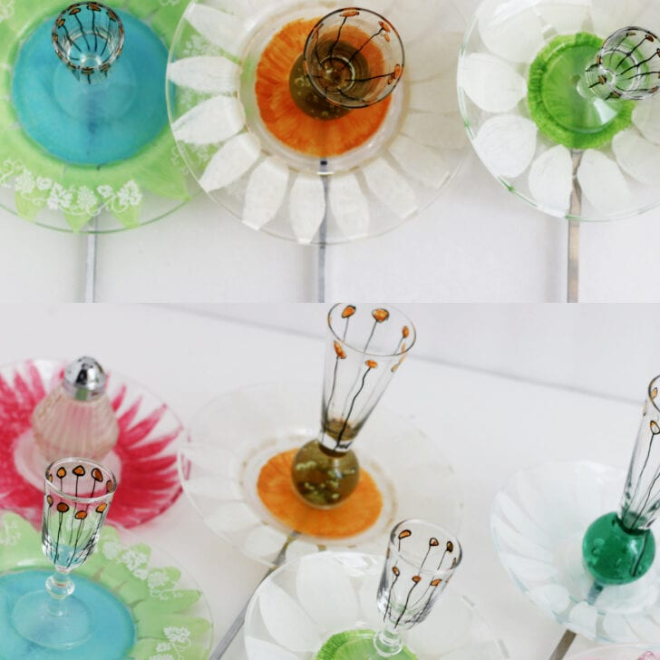 Mini garden art flowers made from clear, painted dishes.