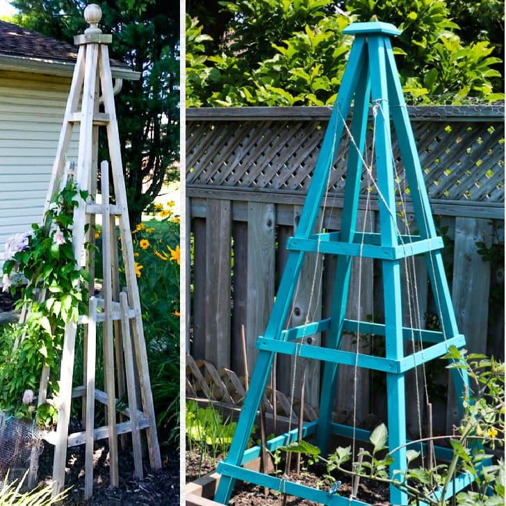 Two garden obelisks in the garden.