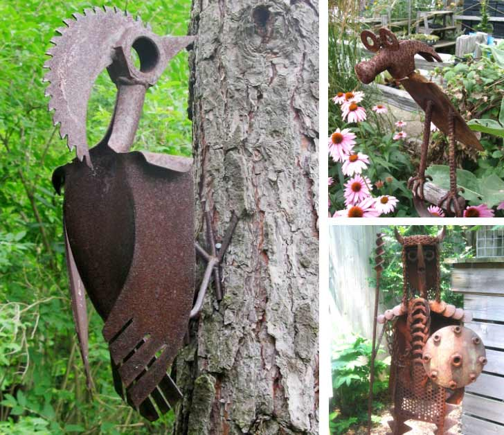Garden art made from old tools including a woodpecker.