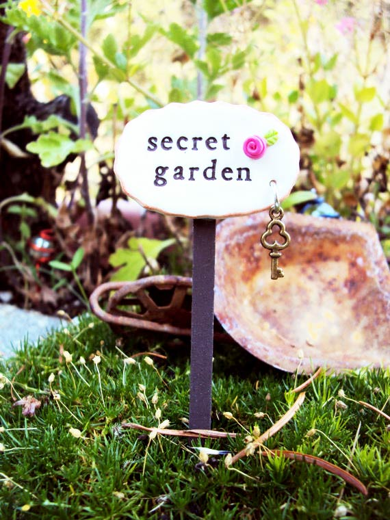 Secret Garden fairy garden sign by HelloLittleCloud on Etsy