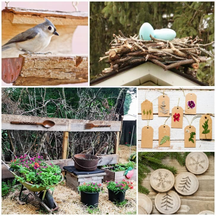 Examples of natural crafts made from and for the garden.