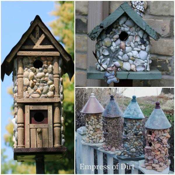 Stone birdhouses | Attach small stones to transform a wooden birdhouse into a creative work of art.