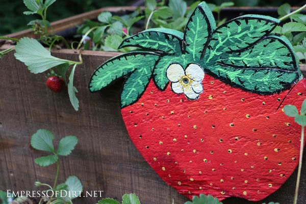 Giant handpainted strawberry plaque.