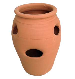 Strawberry pots are available in a variety of materials, textures, and colours.