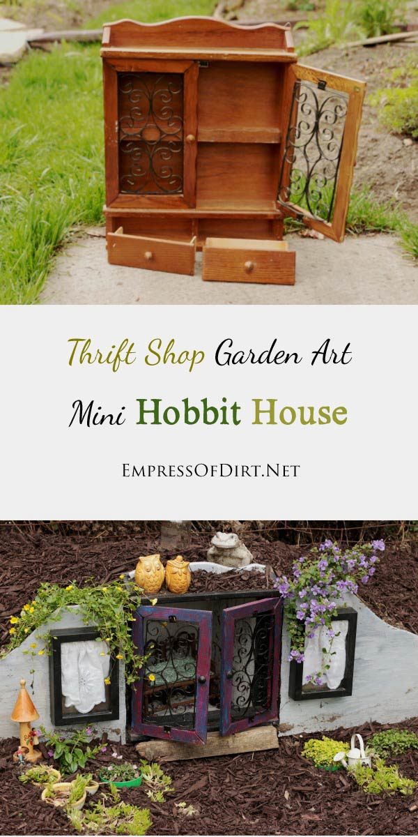 How to turn a basic thrift shop knick-knack curio cabinet into an enchanting mini hobbit house for your garden.